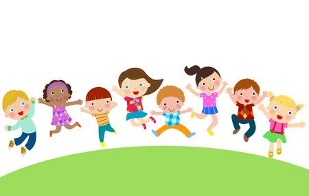 brotherhood: Group of Children Jumping Illustration