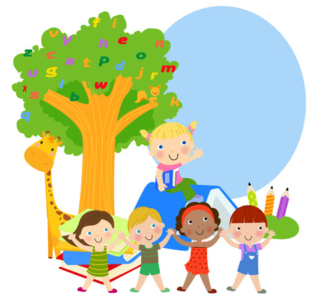 Group of kids and frame Vector