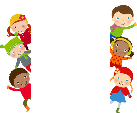 niños con pancarta: Grupo de niños con la bandera - invierno