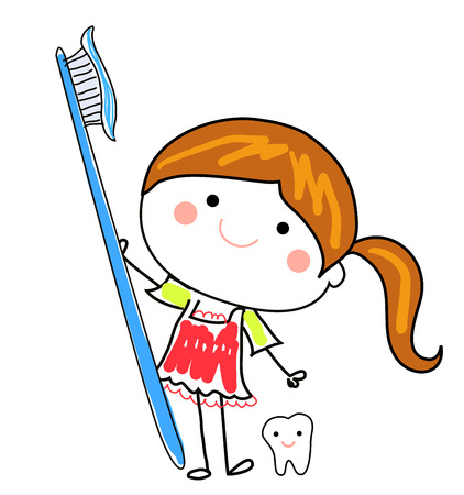 oral hygiene: Little girl and toothbrush