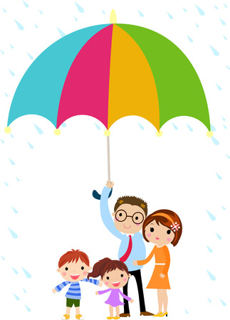 umbrella rain: Family Illustration