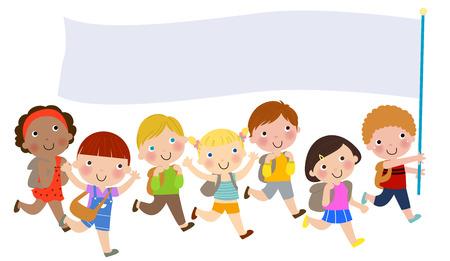 zapatos escolares: Grupo de niños