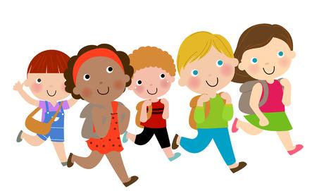 school bags: Group of children