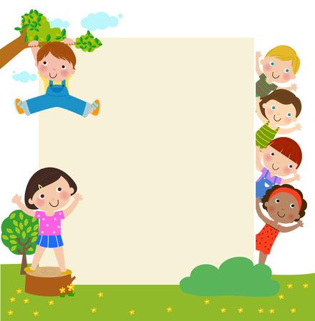 Kinder und Banner Standard-Bild - 31930009