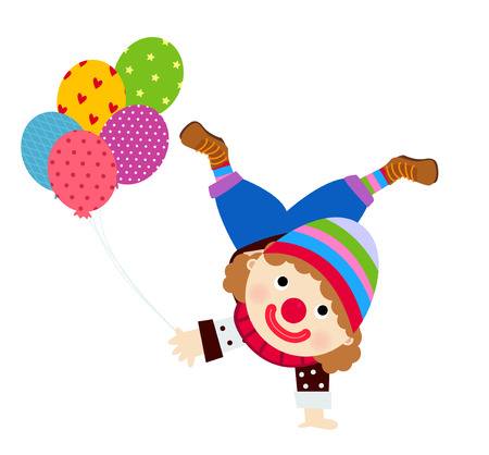 clown shoes: Clown and balloons Illustration