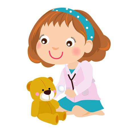 baby doll: Baby girl playing doctor with teddy bear Illustration