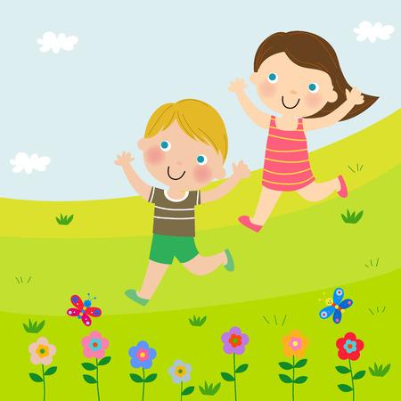 Due bambini che corrono