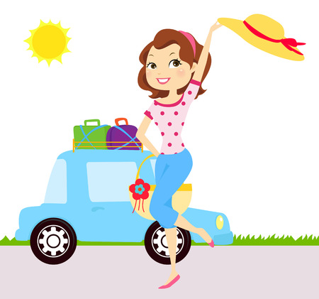 female driver: Fashion girl have a happy day