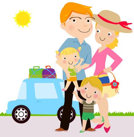 familia viaje: Viajes en familia Vectores