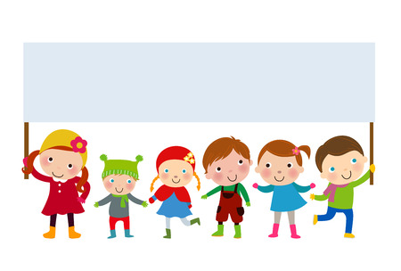 winter kids and banner Vector
