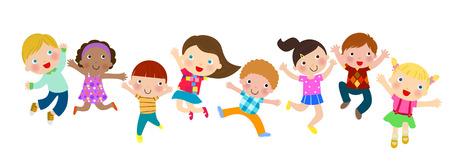 diverse family: Jumping kids