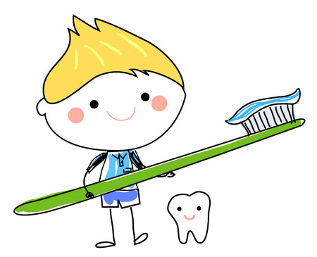 Little boy and toothbrush Vector