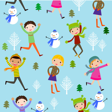 christmas girl: Winter kids background