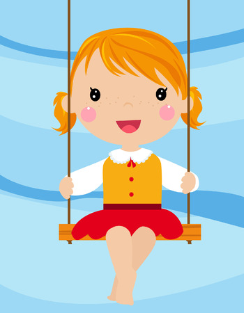 The lovely girl shakes on a swing Vector