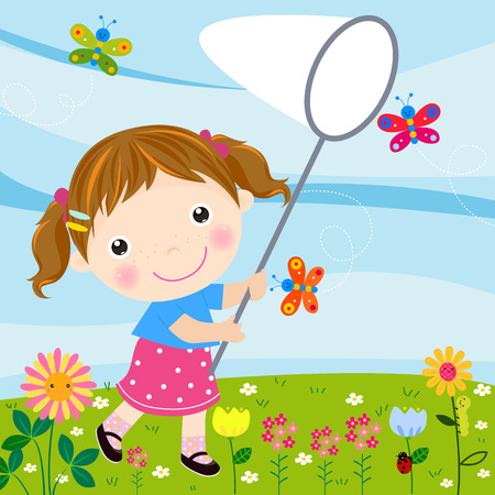 young girls nature: little girl catching butterflies