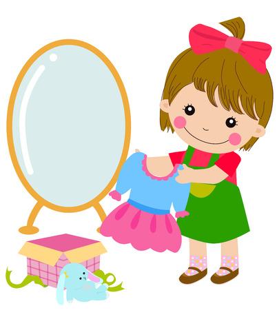 Cartoon little girl and her gift Vector