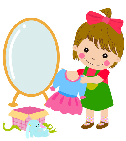 trying: Cartoon little girl and her gift