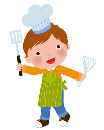 Little chef holding a frying spoon and eggbeater Vector