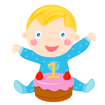 one year old: Baby and cake Illustration