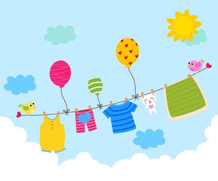 ropa colgada: La ropa del beb� que cuelgan en el tendedero Vectores