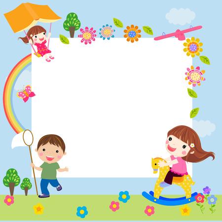 niños estudiando: Niños y marco Vectores