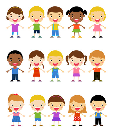asian student: Group of kids set
