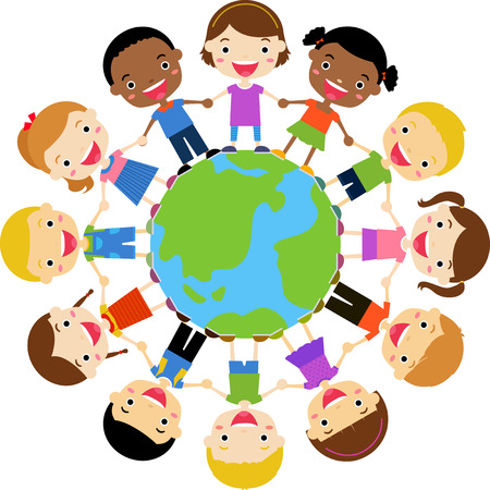 children circle: kids around the Earth Illustration