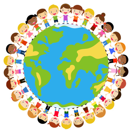 hands holding earth: Kids around globe