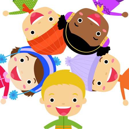 winter time - Group of kids Vector