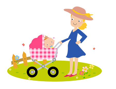 Fashion mother and baby Vector