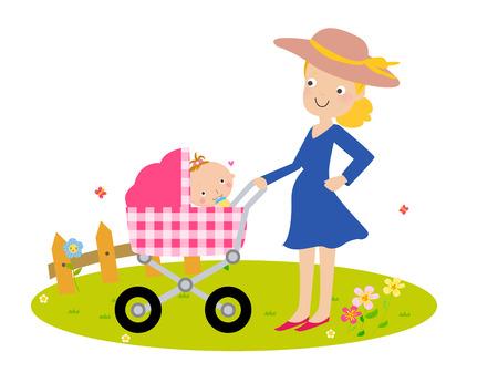 babysitting: Fashion mother and baby Illustration