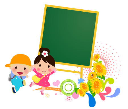 back view student: Kids and blackboard