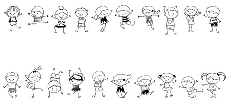 stick children: drawing sketch - Group of kids
