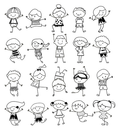 silhouette femme: croquis dessin - Groupe d'enfants