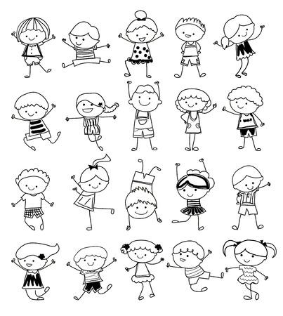 strichmännchen: Zeichnung, Skizze - Gruppe der Kinder