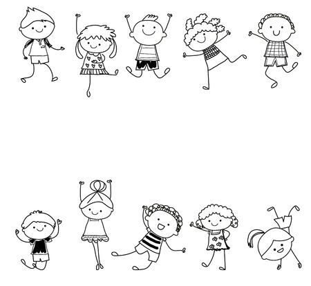nene y nena: esbozo de dibujo - Grupo de niños Vectores