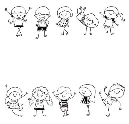 cartoon mensen: Kinderen Stock Illustratie