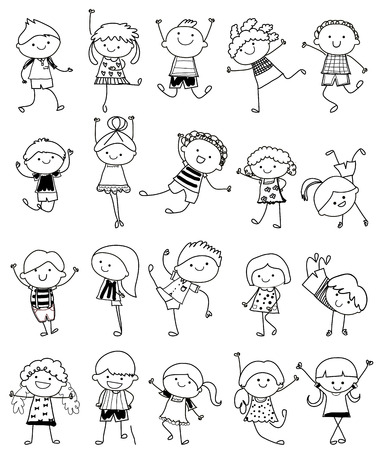 child smiling: drawing sketch - Group of kids