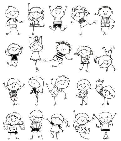 chicos: esbozo de dibujo - Grupo de niños Vectores