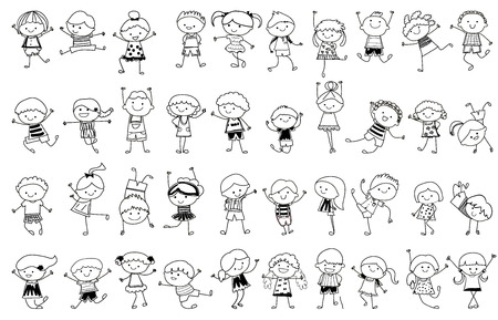 little boy and girl: drawing sketch - Group of kids