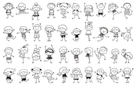 bocetos de personas: esbozo de dibujo - Grupo de ni�os Vectores