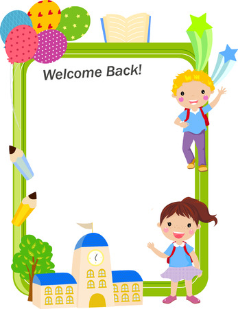 pre school: School kids - back to school Illustration