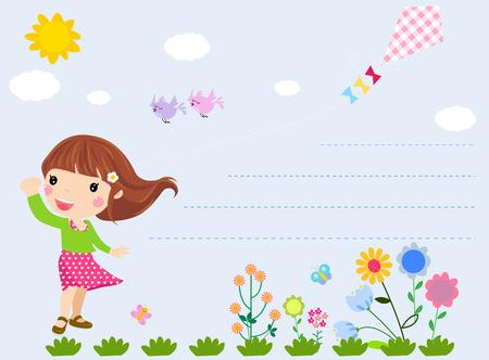 girls having fun: Little girl and flower Illustration