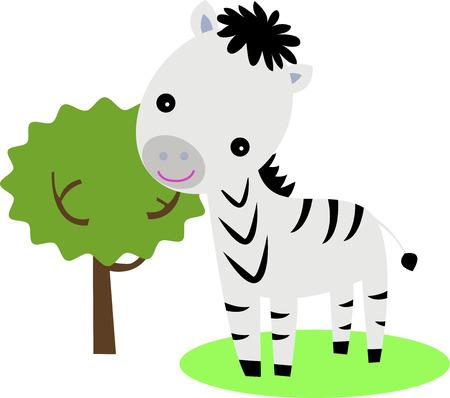 Cute zebra and tree Vector