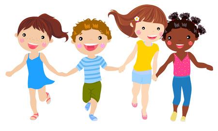 children holding hand running
