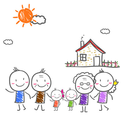 big family: Big family with children Illustration