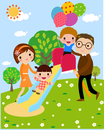 children playground: Family playing