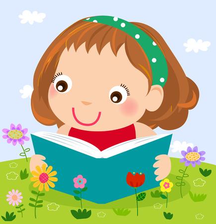 cartoon flower: Little girl reading
