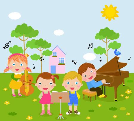 grand piano: Los ni�os y la m�sica Vectores