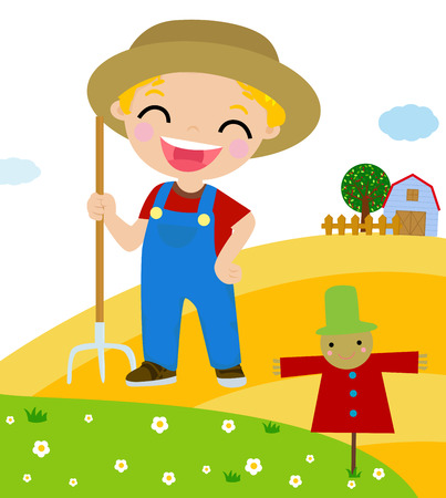 Cartoon little farmer Vector